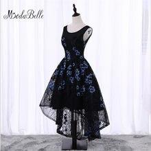 4bac3aec5 Negro trasero largo delantero corto flores Floral fiesta vestido de noche  barato Junior Girls Scoop cuello