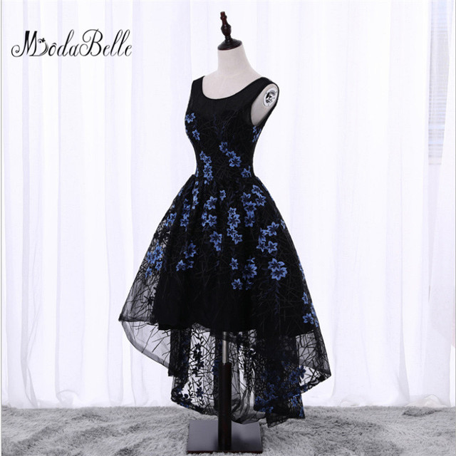 60b336cc12 Black Short Front Long Back Flowers Floral Prom Dress Evening dress Cheap  Junior Girls Scoop Neck Lace Formal Homecoming Dresses