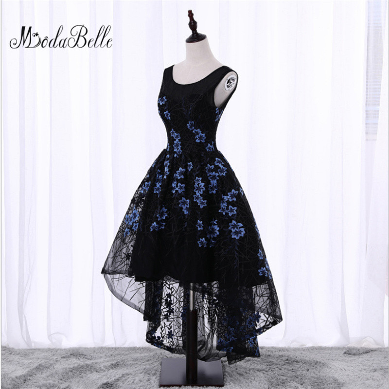 Black Short Front Long Back Flowers Floral   Prom     Dress   Evening   dress   Cheap Junior Girls Scoop Neck Lace Formal Homecoming   Dresses