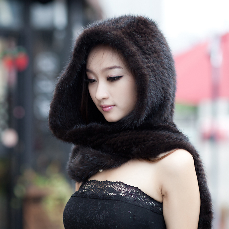 2018 Winter Thermal Mink Fur Scarf Women Mink Hair Knitted Hat Scarf One Piece Black/ Brown in Stock