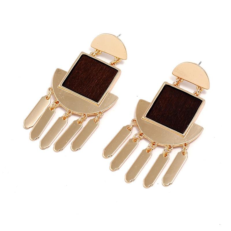 Vintage Style Geometric alloy tassel earring Wood Big Earrings Gold color Jewelry For Women Fashion Jewelry Wholesale 2018