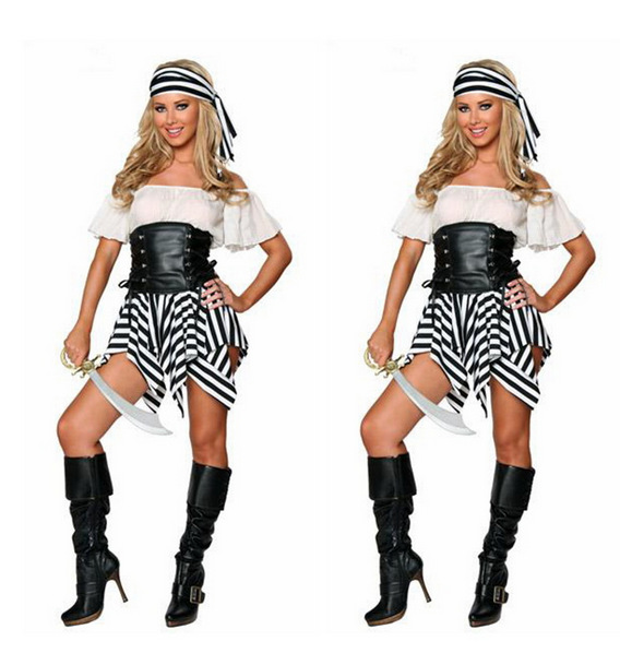 2017 women sexy lingerie pirate costume sexy halloween costumes for women high quality caribbean pirate costumes - High Quality Womens Halloween Costumes