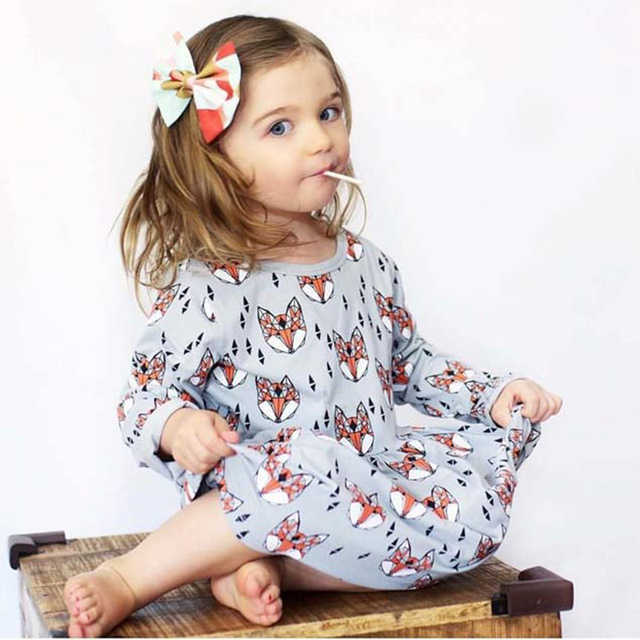 Kinderkleding Kids.Princess Dresses For Girls Wedding Party Fox Print Kids Long Sleeve