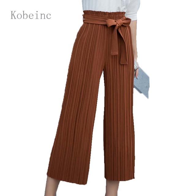 2017 Primavera Mulheres Perna-Wide Calças Calças Plissadas Tornozelo-Comprimento Calças Moda Soltos Pantalones Mujer Mulheres Cintura Alta calças