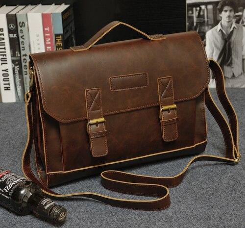 HOT Mens PU Leather Messenger Shoulder Bags Business Work Briefcase Laptop Handbag Large Big Cowboy Black Brown