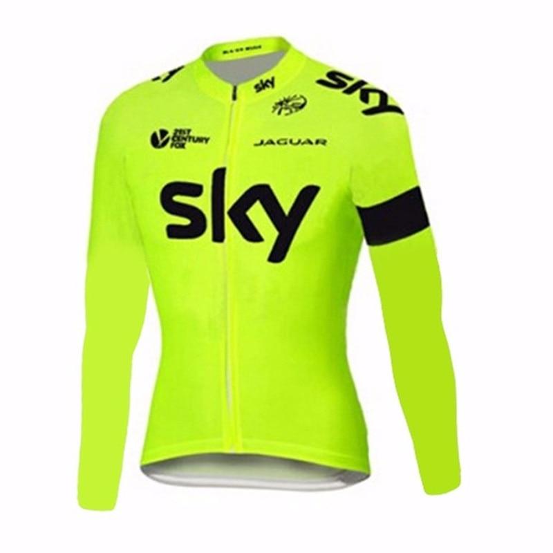 Цена за Горячая! дышащий Флуоресценции SKY Велоспорт Джерси Быстрый Сухой Ропа Ciclismo Спортивная Одежда Рубашки Мужчина С Длинным Рукавом MTB Велосипед Clothing B1101