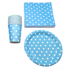 60pcs/lot Happy Birthday Party Decoration Light Blue Polka Dots Theme Cups Kids Favors Plates Dishes Baby Shower Paper Napkins
