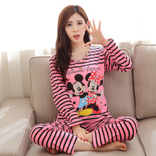 Free shipping Pajama Sets Long Sleeve women Sleepwear Autumn spring Carton Cotton Pajamas Mujer Women Home Clothes Wholesale