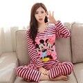 O envio gratuito de Caixa Conjuntos de Pijama mulheres Sleepwear primavera Outono de Manga Longa de Algodão Pijama Mujer Mulheres Roupa Em Casa Por Atacado