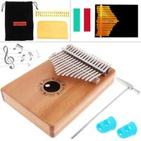 17 Key Kalimba Solid Mahogany Finger Thumb Piano Mbira Natural Mini Keyboard Musical Instrument with 7pcs Accessories