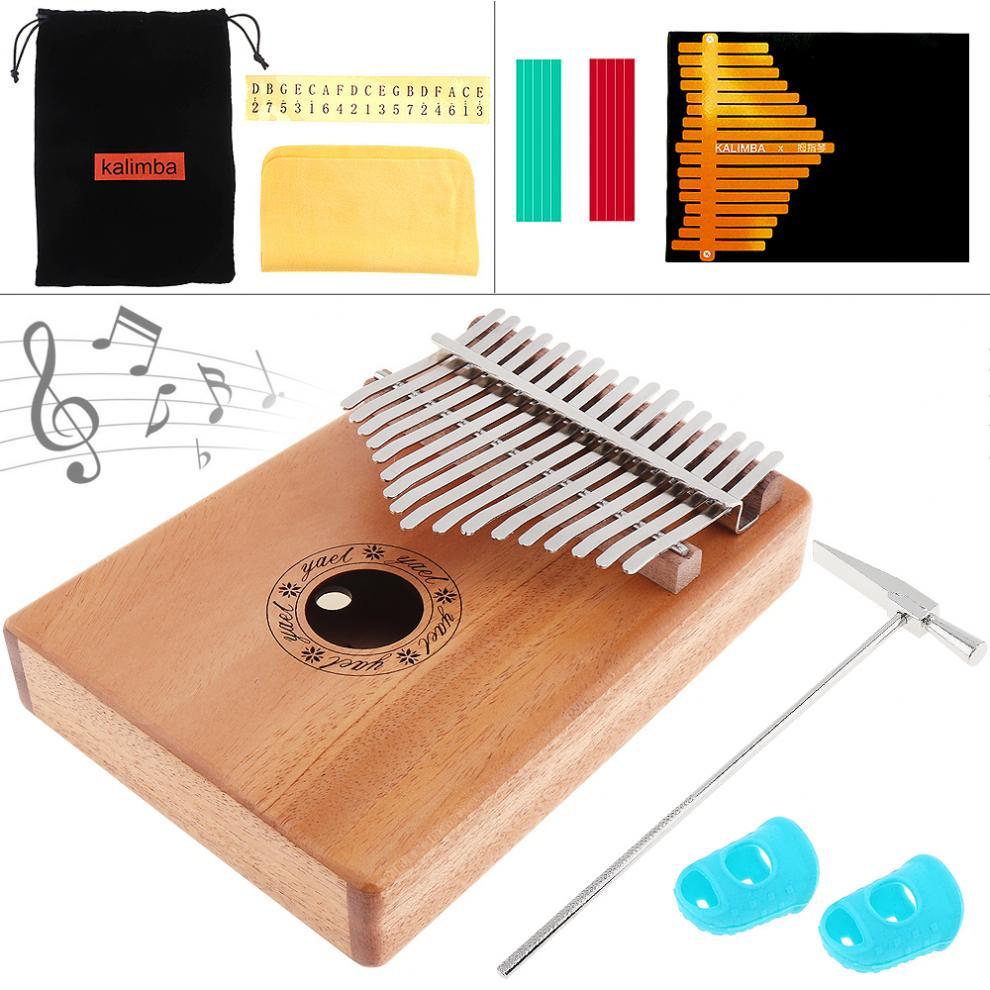 17 Key Kalimba Solid Mahogany Finger Thumb Piano Mbira Natural Mini Keyboard Musical Instrument with 7pcs Accessories