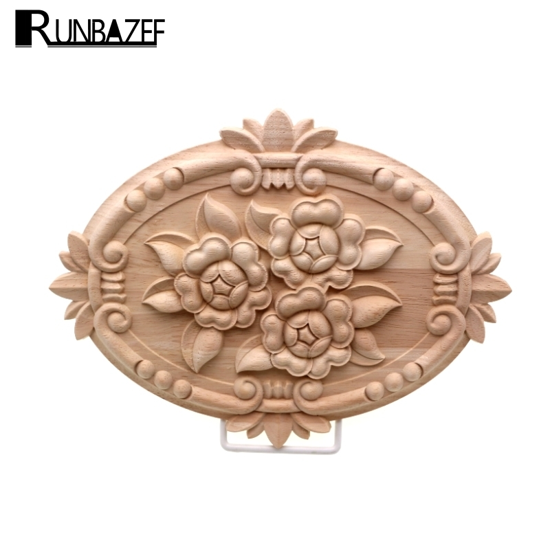 RUNBAZEF Rose Wood Carving  Cabinet Door Heart Flower  Applique Furniture Accessories Relief Solid Elliptical  Figurine