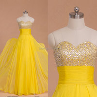 Bright Yellow Flowing Chiffon Prom Dresse 2014 Floor Length Sweetheart Sequins Beaded Prom Dresses Long