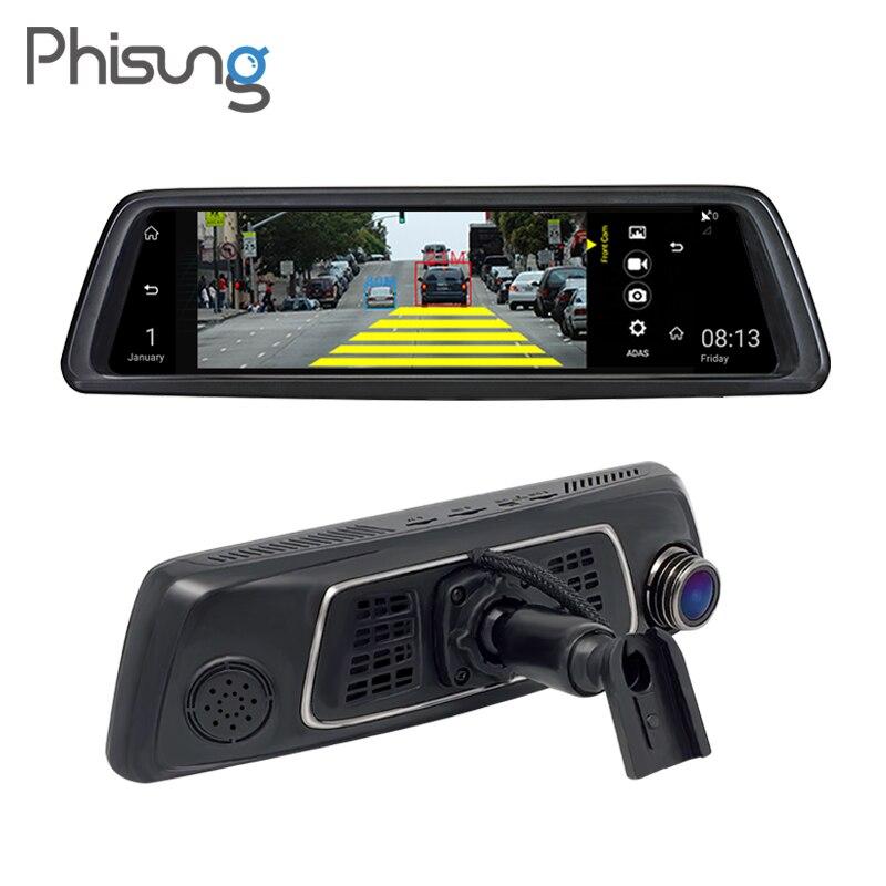 10 full mirror touch 4G ADAS Car DVRs Android 5.1 1080P Video Recorder Registrar automotive gps dvr camera android Phisung V9s