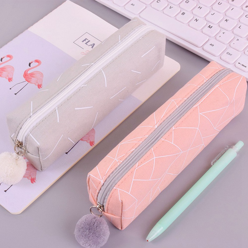 New Concise 4 Colors Solid Color Girls Student Pencil Cosmetic Bagschool  For Girl Boy  Canvas Pencil &Cosmetic Bag(China)