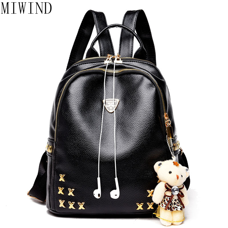 MIWIND Women PU Leather Korean Style Fashion Rucksacks School Backpack For Girls Mochila Brand Designer Bags