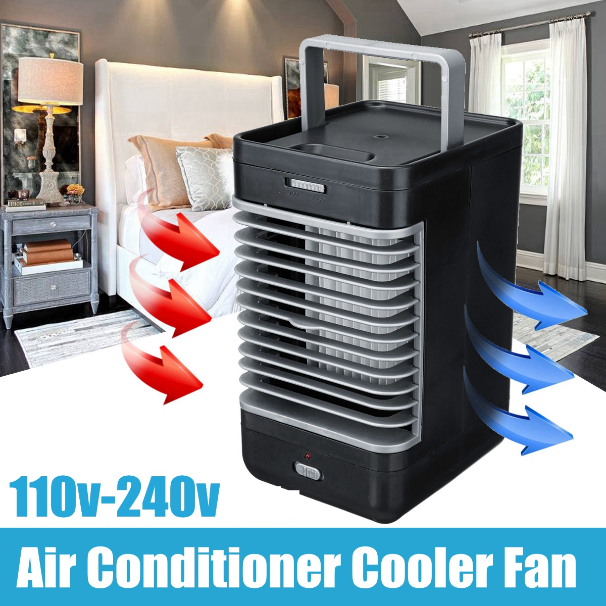 110~240V 2 speed Mini Home Car Cooler Cooling Fan Water Ice Evaporative Car Air Conditioner for Car Wireless Remote Control universal dc 12v evaporative air conditioner 35w black portable mini cooling conditioner water evaporative car air fan