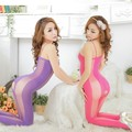 Women Sexy lingerie Soft Large Elastic Body Stockings Open Crotch Semi-Transparent Body Suit Slim Nightwear Adjustable Straps