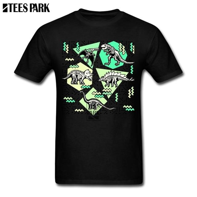 ab3501f6 Tee Shirts Neon Skeleton Dinosaur Pattern T Shirt Sale Adult Round Neck  Short Sleeve Tee Shirts Geek Adult Black And White