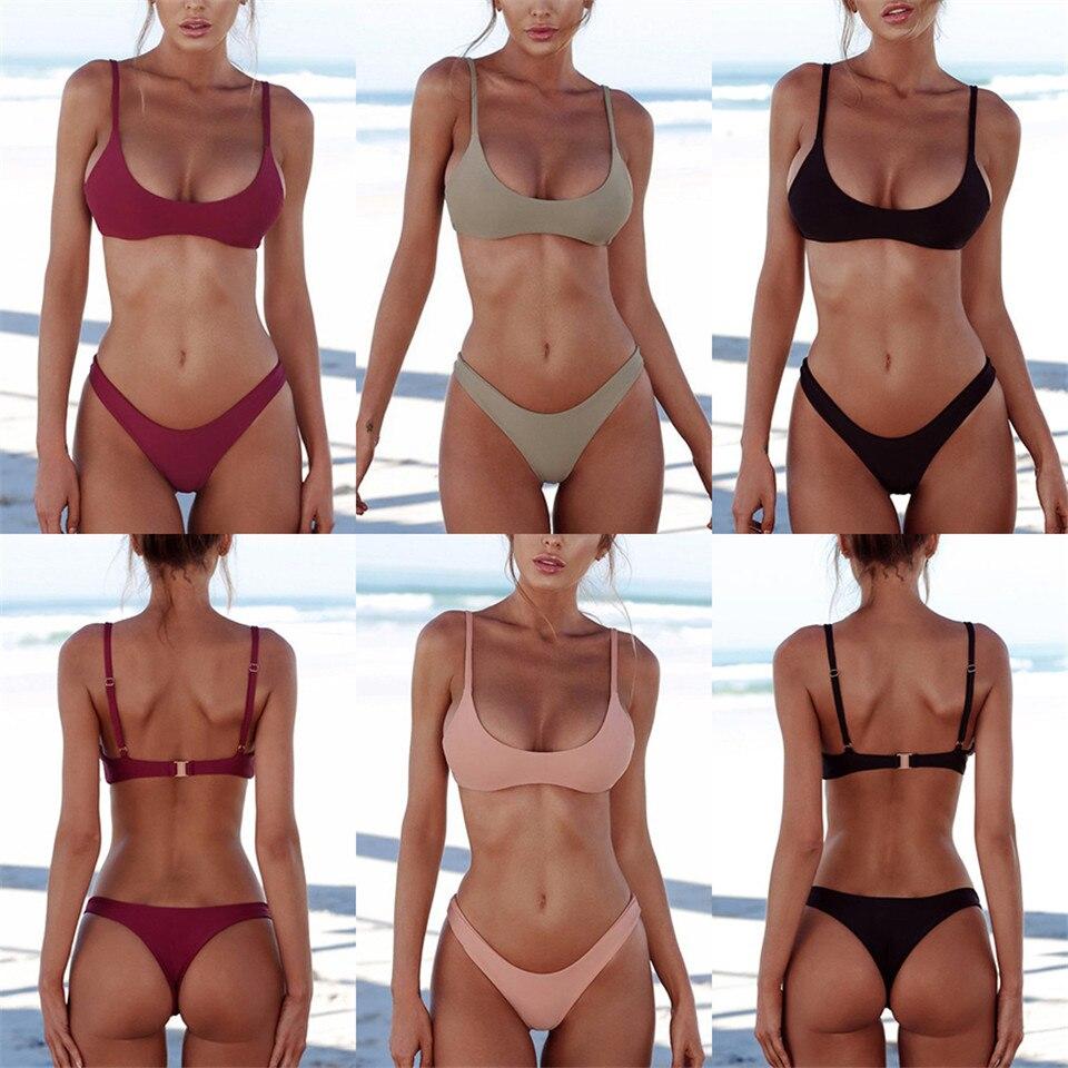 Sexy Thong Bikini 2019 plus size Swimwear Women Brazilian Bikini Set Push Up Swimsuit Solid Beachwear Bathing Suit Biquini XXL-0