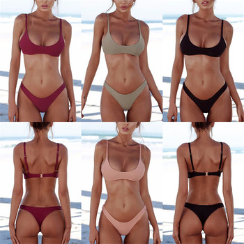 Sexy Thong Bikini 2019 plus size Swimwear Women Brazilian Bikini Set Push Up Swimsuit Solid Beachwear Bathing Suit Biquini XXL