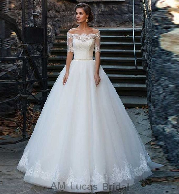 Long A Line Wedding Dress With Short Sleeves 2017 Sweet Off The Shoulder Bridal Party Gowns Robe De Mariage Fast Shipping