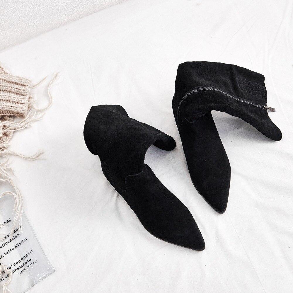 Женские зимние сапоги до колена на плоской подошве; облегающие рыцарские сапоги с пряжкой на лодыжке; женские высокие сапоги высокого качества; теплые плюшевые сапоги; обувь