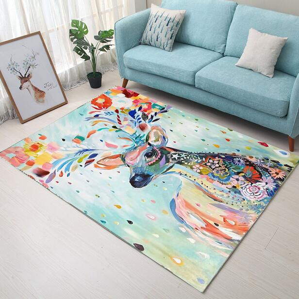 100*160cm Super Soft Flannel Abstract hand drawed Elk Carpet baby crawling pad thicken play mat tapis Non-slip rug blanket