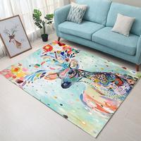 100*160cm Super Soft Flannel Abstract hand drawed Elk Carpet baby crawling pad thicken play mat tapis Non slip rug blanket