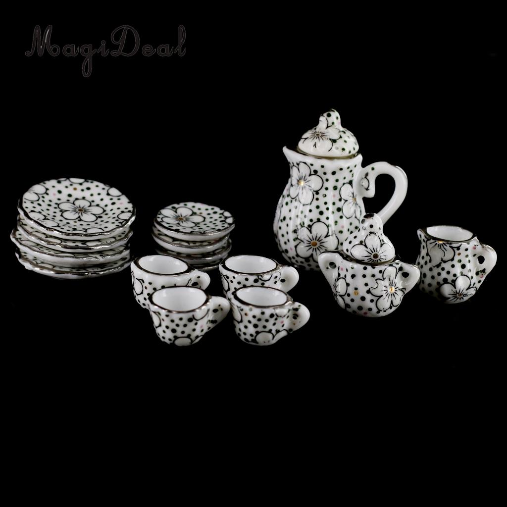 1/12 Scale Dollhouse Miniature Daisy Porcelain Dinning Ware Tea Tableware Set Cup Pot Saucer For Dolls House Furniture Decor