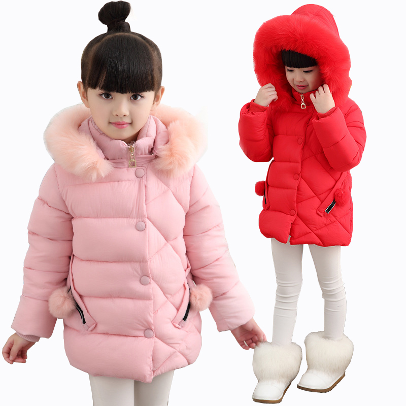Girl Winter Jacket 2018 New Girls Thick Cotton Padded Jacket Children's Trend Thickening Coat Kids Keep Warm Coat Fur Hooded 2016 new fashion winter jacket men high quality brand thickening casual cotton padded keep warm men coat parkas 1358