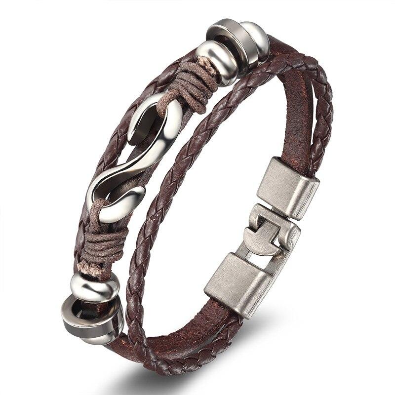18 New Fashion 3 layer Leather Skull Bracelets&Bangles Handmade Round Rope Turn Buckle Bracelet For Women Men Charm bracelet 23
