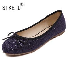 Newest Bowtie PU Sequin Women Loafers Driving Casual Ballet Flats Shoes 35 40 SIKETU Brand