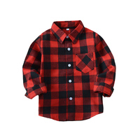 Boys Girls Blouses Long Sleeve Plaid Shirts For Boys Tops Spring Autumn Unisex Plaid Blouses Teenage