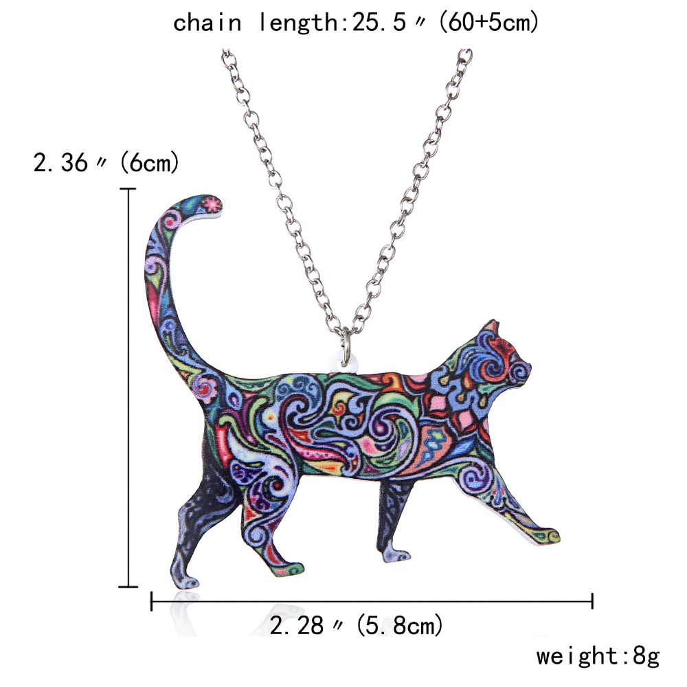 Handmade Colorful Double Side Acrylic Printing Flower Jewelry Animal Cat Pendant Necklace For Women Sweater Chain Family Gift 1