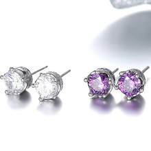 High-quality silver oxide Hao stone earrings crown crystal earrings girls cute fashion jewelry 7MM + 16MM