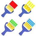4 Pçs/lote Amarelo Esponja Escovas de Pintura Graffiti Brinquedo Das Crianças Das Crianças de Plástico Lidar Com Selo Esponja Pincel de Desenho Brinquedo Educativo