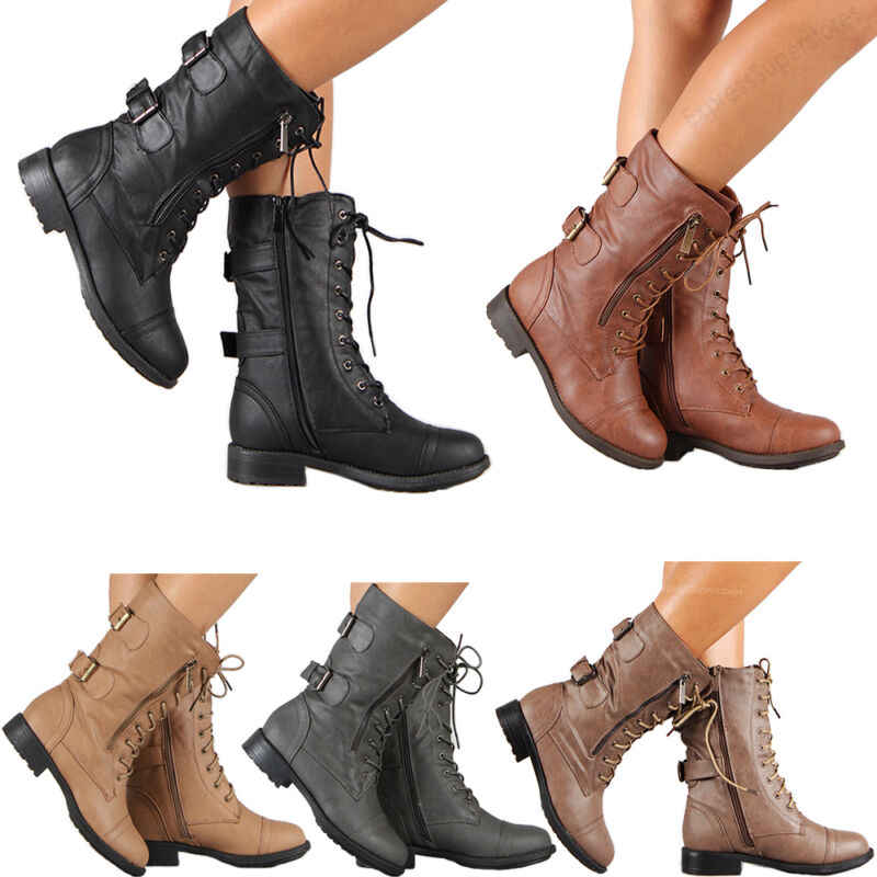 Womens Combat Military Boots Lace Up
