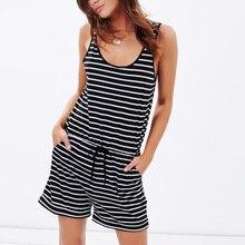 Women Summer Fashion Striped Pocket Drawstring O-Neck Slim Sleeveless Bodysuit Playsuit Jumpsuit Romper