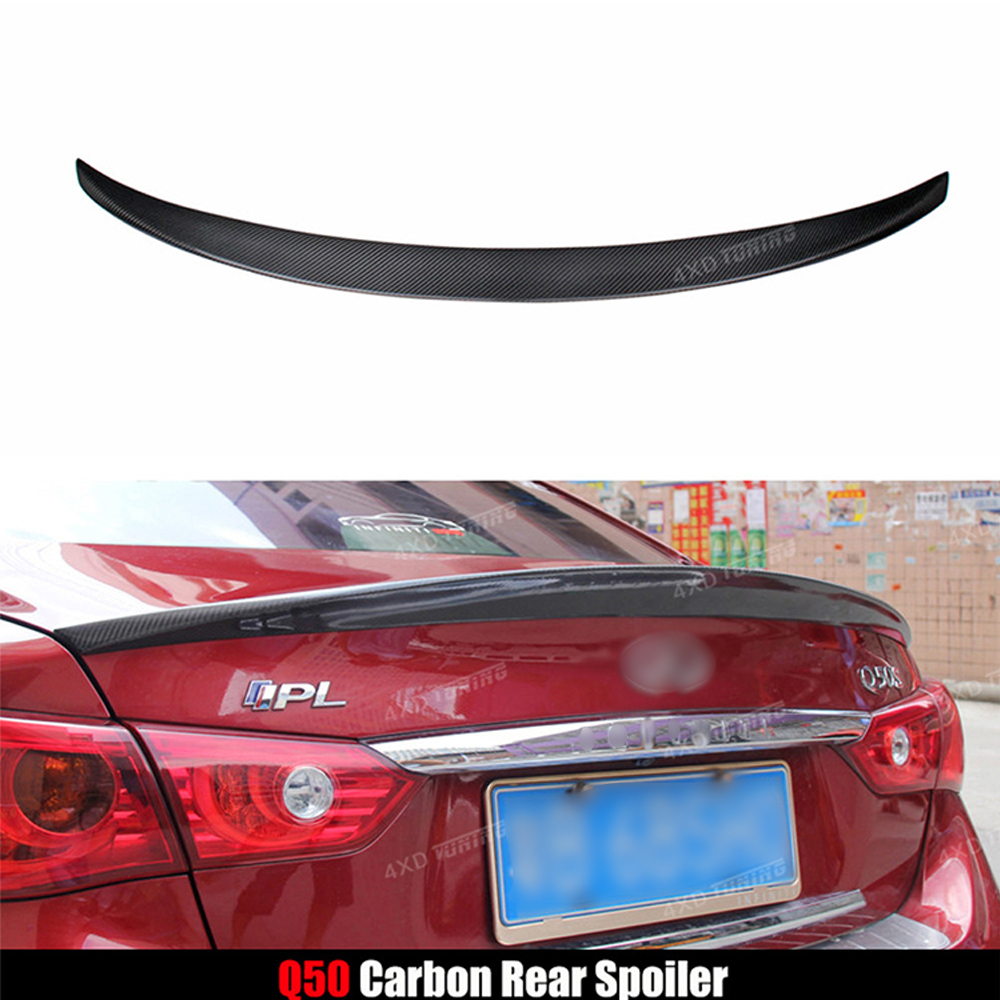 For Infiniti Q50 Carbon Rear Spoiler North America Style Q50S Q50 Carbon Fiber Rear spoiler Rear Trunk Wing 2014 2015 2016 2017 for audi a6 c7 4g carbon rear spoiler s6 style a6 carbon fiber rear spoiler rear trunk wing 2012 2013 2014 2015 2016 2017 up