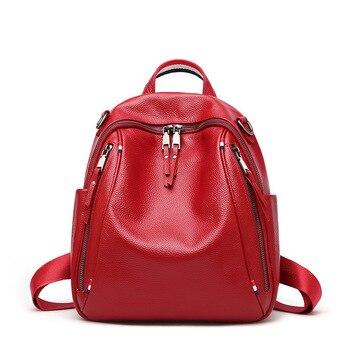 DANJUE Fashion Genuine Leather Backpacks Female Travel Shoulder Bag Mochilas Women Backpack Large Capacity Rucksacks For Girls