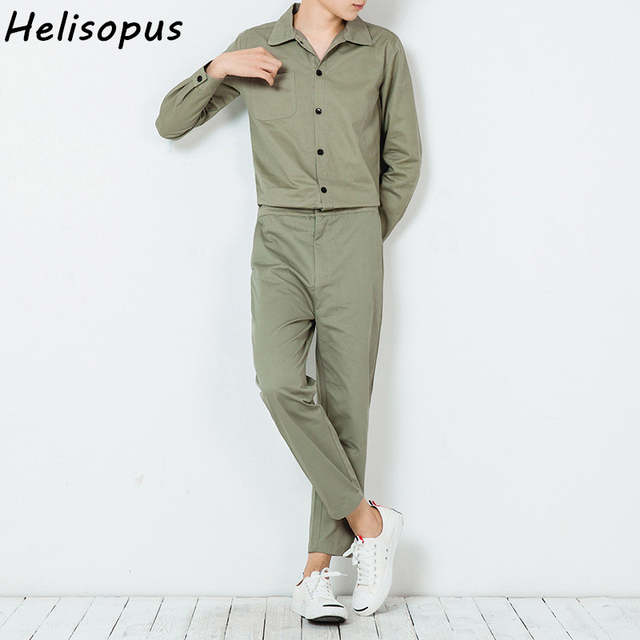 d09fb541cf4 Online Shop Helisopus Men s Long Sleeve Playsuit Fashion one-piece Pantsuit  Male Work Casual Rompers Black Khaki Green Overalls