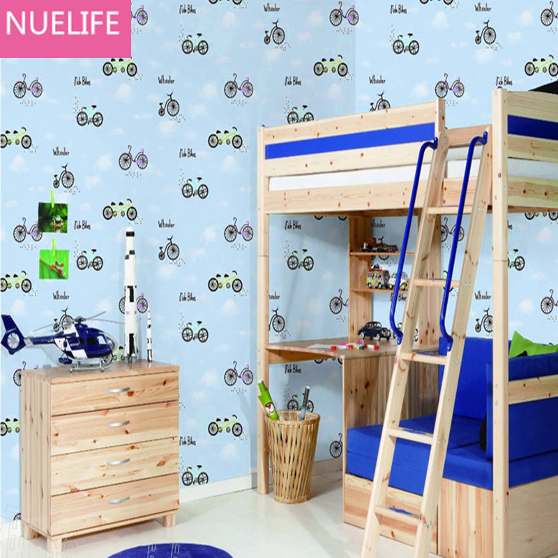 0.53x10m Cartoon blue sky white clouds bike pattern non-woven wallpaper boy girl kids room living room bedroom  wallpaper customize leaves blue sky and white clouds 3d ceiling murals wallpaper living room bedroom