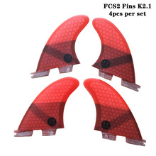 Surf FCS2 Fin K2.1 Black/Blue/Red/Green Fibreglass Honeycomb Fins SUP Board Quad fin set