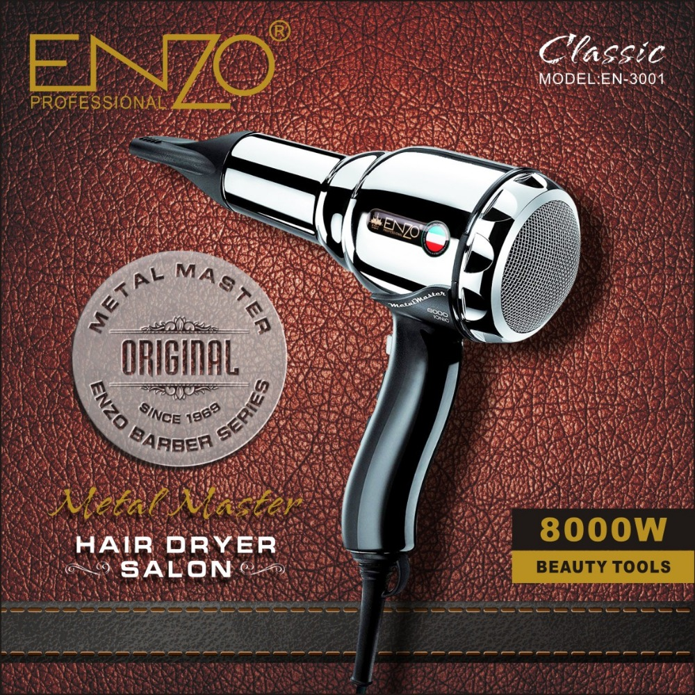 ENZO 8000W Metal body Salon Professional Hair Dryer Volumizer Negative Ion Blow Dryer Brush Hot Cold