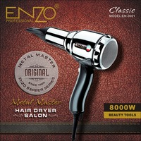 ENZO 8000W Metal body Salon Professional Hair Dryer Volumizer Negative Ion Blow Dryer Brush Hot/Cold With Air Collecting Nozzle