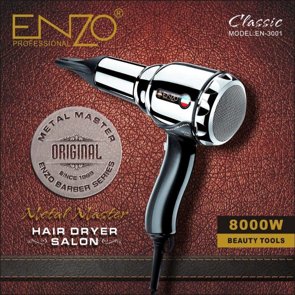 Enzo 8000 w corpo de metal salão de beleza profissional secador de cabelo volumizer íon negativo secador de cabelo escova quente/frio com ar coleta bico