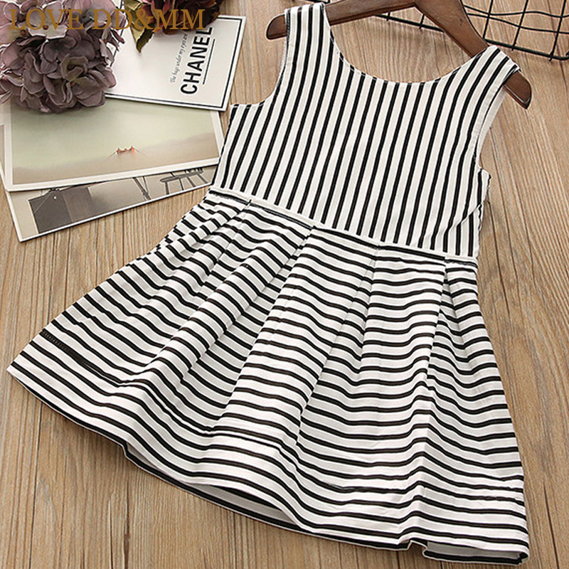 Girls Dresses Simple Children's Love-Dd--Mm Zipper Striped Comfortable New
