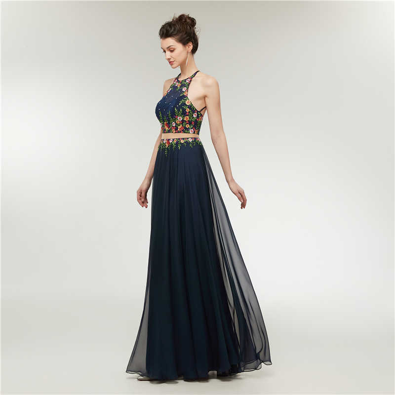 ab54ebf90c2ba Sexy 2 Piece Prom Dresses 2018 Long A-Line Beads Embroidery 3d Flowers  Evening Dresses Navy Blue Women Formal Prom Evening Gown