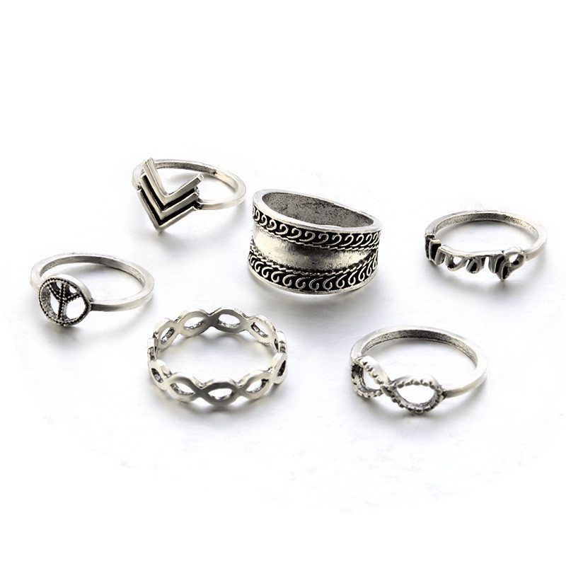 New Fashion 6pcs/Set Antique Silver Color Infinite Finger Rings For Women Peace Sign Pattern Midi Knuckle Ring Wholesale